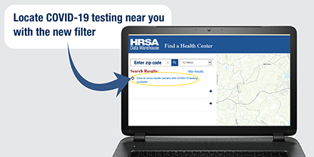 Find #COVID19 testing #today at a #HRSA-funded #HealthCenter near you! Heres how: 1) Visit our site: bit.ly/3fbAylM 2) Enter your zip code & select how many miles from it to search 3) Click the search icon 4) Click to show #HealthCenters w/ COVID19 testing available