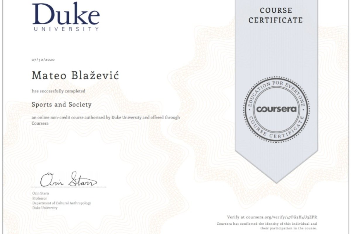 It took some time, but it is all worth it at the end. I have completed the Sports and Society course, authorized by @DukeU  thanks to @coursera  😃  #duke #dukeuniversity #sports #sportsandsociety #coursera https://t.co/SC5xROEwR1