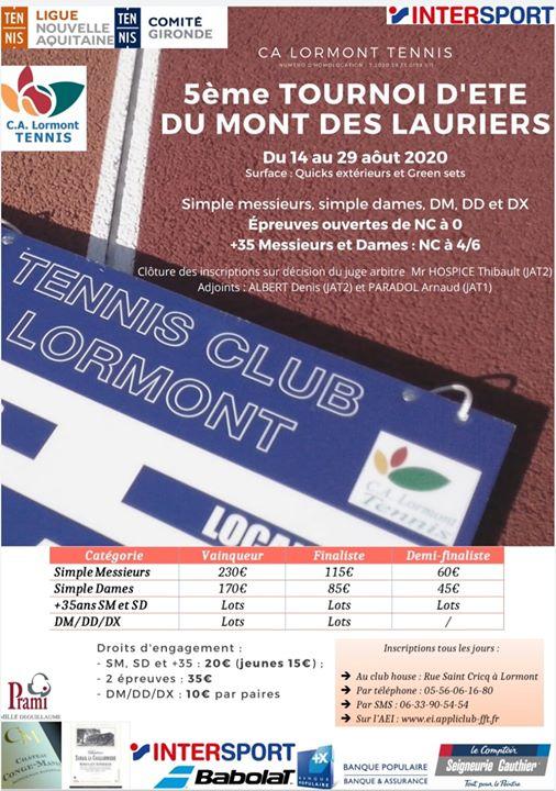 Amateur ou joueur de #tennis ? Le CA Lormont Tennis propose le 5e #tournoi du Mont des Lauriers du 15 au 29 août. 👉 Toutes les catégories au programme et les inscriptions sont ouvertes. + d'infos sur l'affiche 👇 #sport #Lormont #compétition https://t.co/DFfSFjmT06