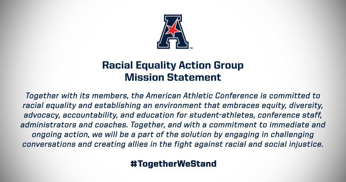 Together, the American Athletic Conference and its member institutions are committed to racial equality and creating allies in the fight against racism and social injustice.  Here is our mission.  #TogetherWeStand. https://t.co/HspyZtNH7l