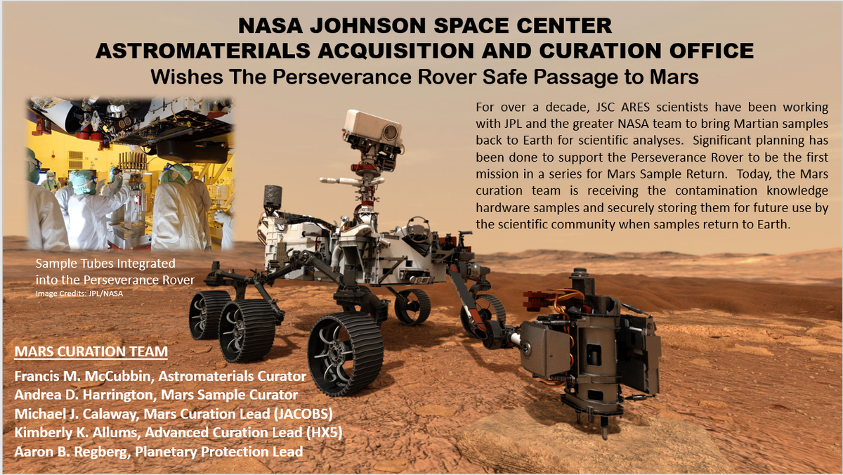 NASA's Mars Sample Curator, Andrea Harrington along w/ Mars Curation team members Michael Calaway, Kimberly Allums, & Aaron Regberg & our entire team @NASA_Johnson wish safe passage to Mars for @NASAPersevere. We look forward to the potential of returning Mars samples to Earth.