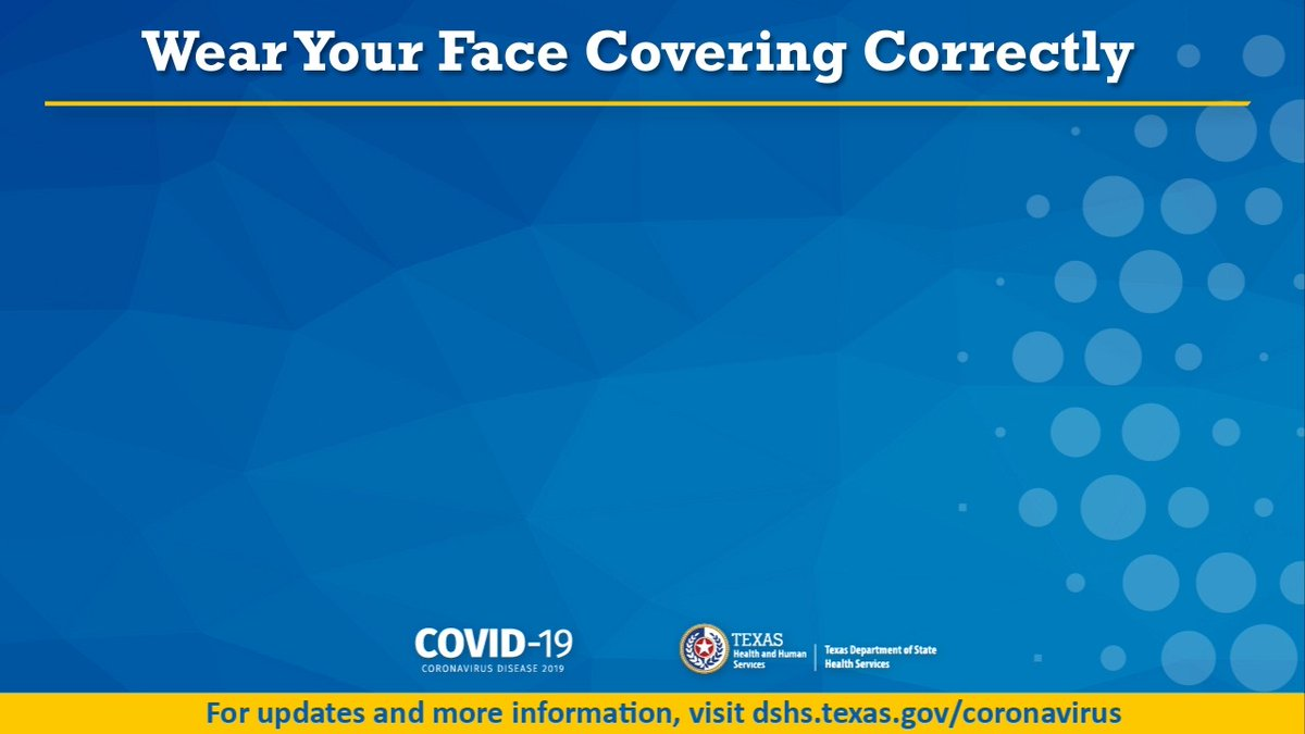 Wear your face covering correctly yall. Watch our video, using @CDCgov guidelines, for how to safely put on, wear, and remove a face covering. To best avoid getting and spreading COVID-19, wear your face covering correctly and take all other #HealthyTexas steps. #COVID19TX