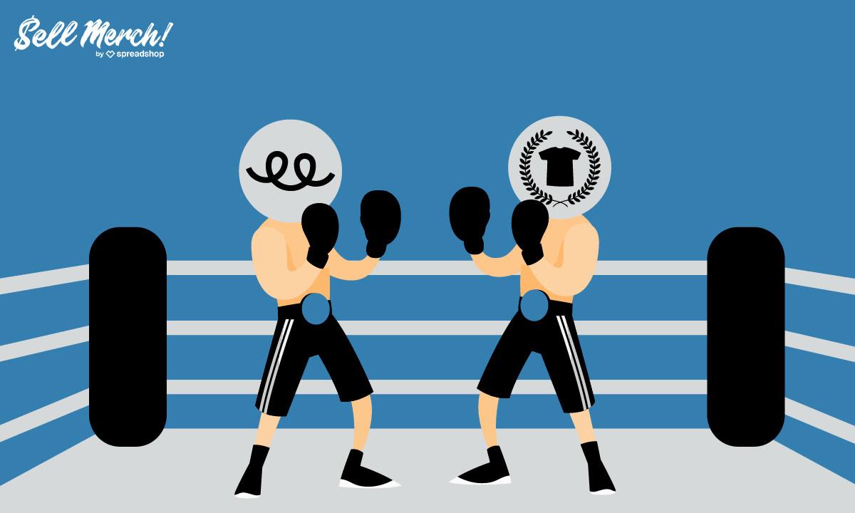 It's #Teespring vs #Teepublic for the BATTLE OF THE TEES! Who wins?  https://t.co/VUzFtOQ8bD 💙😉 #printondemand #merchfight #newmerch #prettymerch https://t.co/EfFjmve1ux