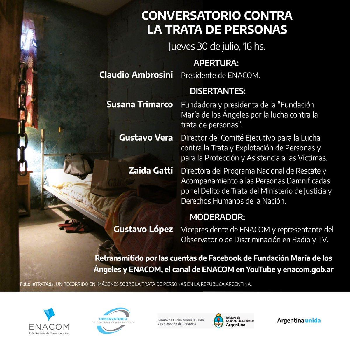 Los invitamos a participar de este conversatorio contra la trata de personas que será transmitido online. Pueden encontrar toda la información en la foto. https://t.co/ImvVptn6Fb