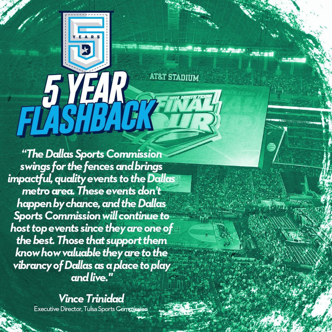 """The Dallas Sports Commission swings for the fences and brings impactful, quality events to the Dallas metro area."" -Former Tulsa Sports Commission Executive Director, Vince Trinidad  #DSC5Years 