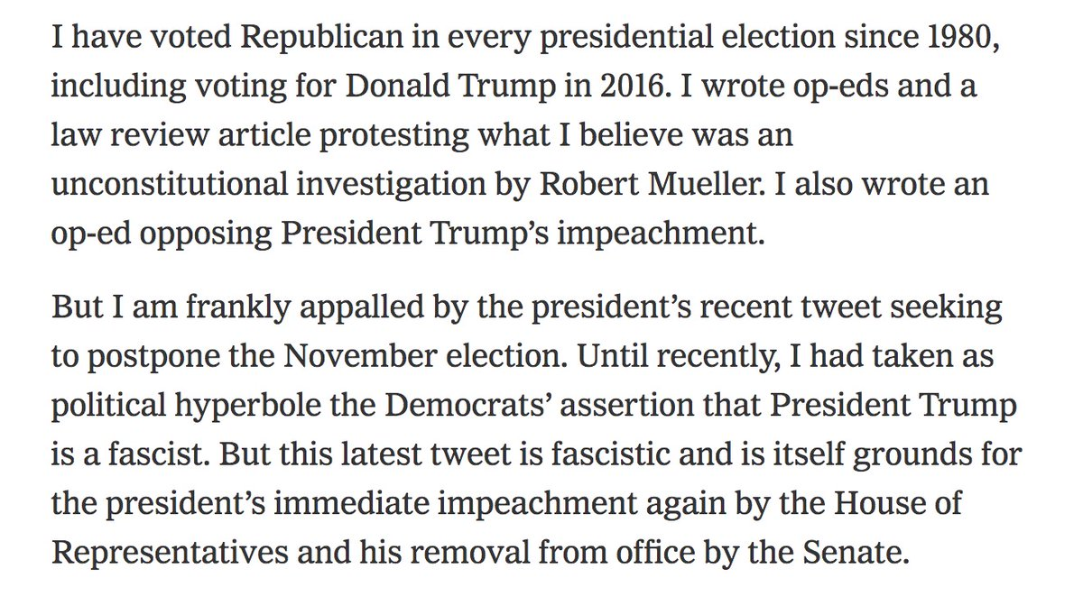 Steven Calabresi, co-founder of the Federalist Society and a recent Trump supporter, writes in @nytimes that Trump must be impeached and removed from office for his tweet aiming to postpone the election. https://t.co/g0Jq0lQqd8 https://t.co/iJiMechXKS