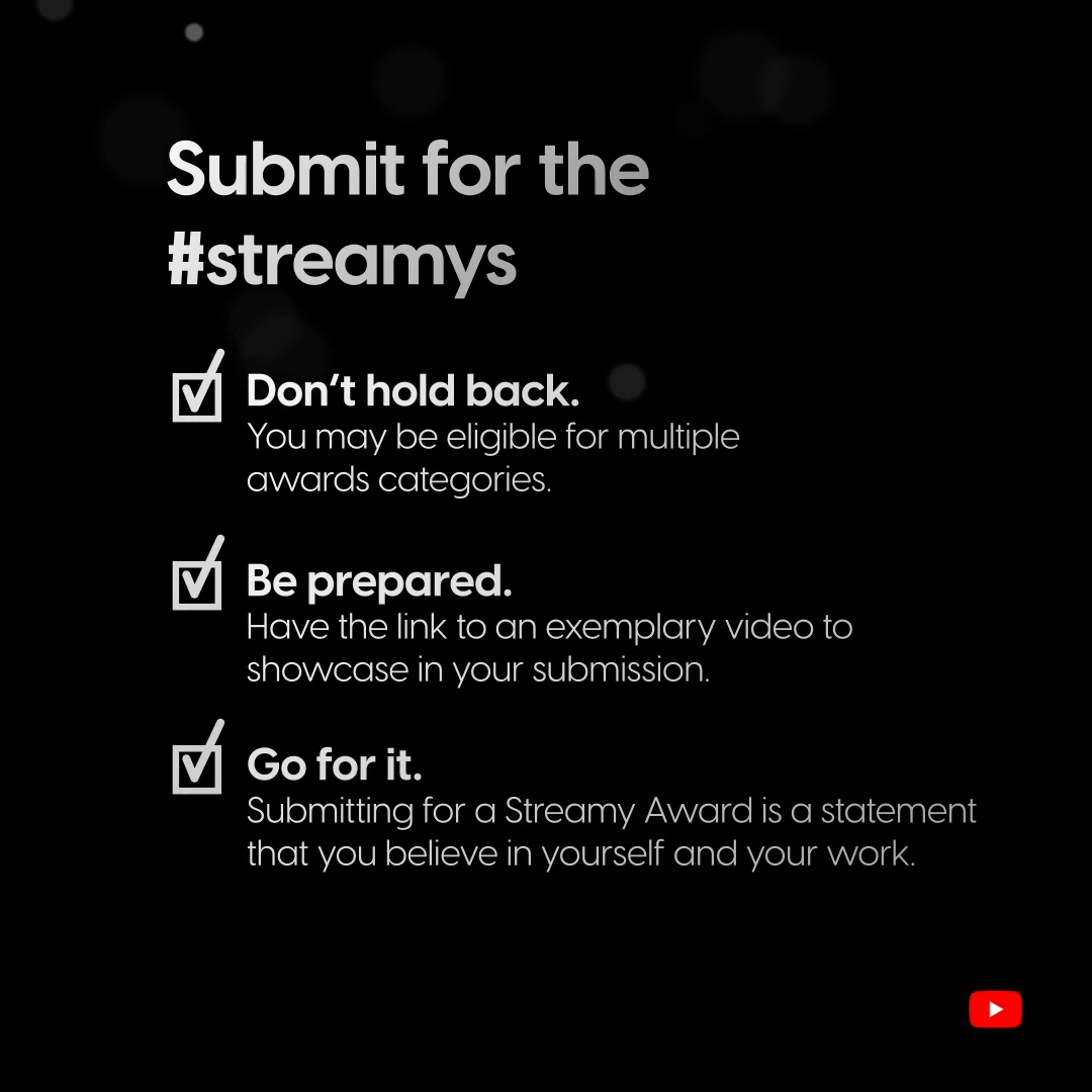 Did you know submissions to the 10th Annual @streamys are free this year? If you read this and immediately thought of videos you think deserve an award, submit them! https://t.co/6ITvE3ijQN  Check out these tips, believe in yourself, and we'll see you on December 13! 🌟 #streamys https://t.co/0OtI4hBZVz