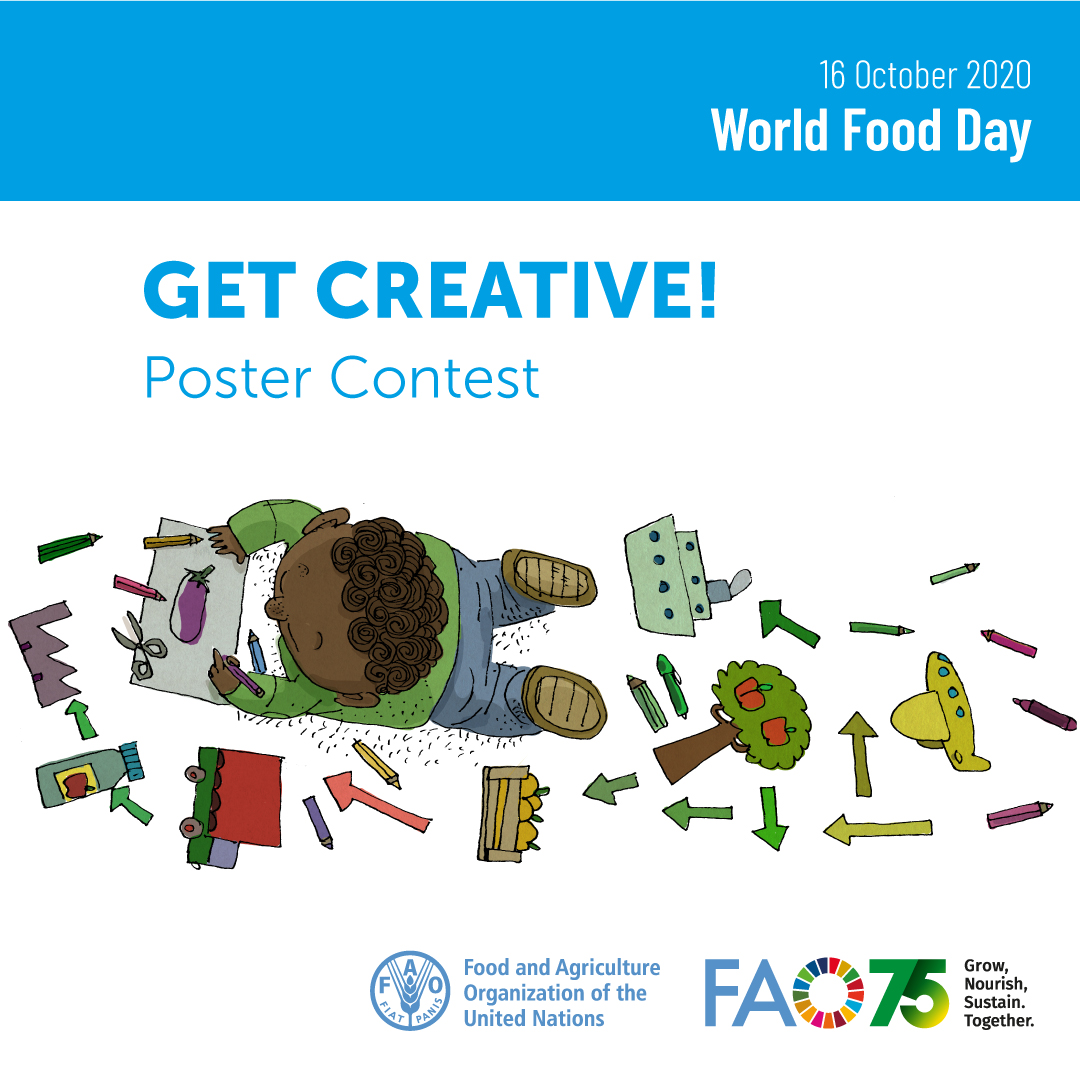 🎨Get creative! We're calling on children & teens all over the 🌏! Use your idea, & create a poster that illustrates your favourite food hero at work. Send us your entries by 6 November! 👉 bit.ly/2PciGNa #WorldFoodDay #FoodHeroes