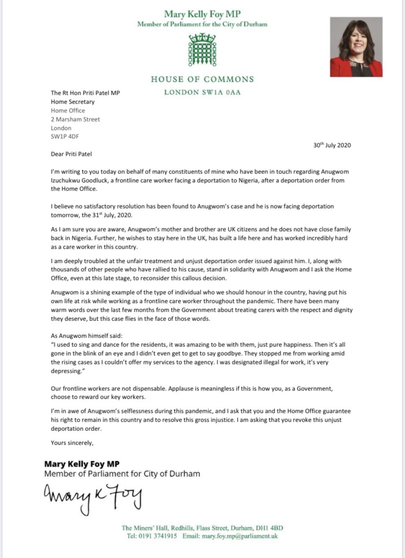 Anugwom Goodluck, a frontline care worker, is facing deportation to Nigeria tomorrow, despite the fact that he has no family there. Today, I wrote to Home Secretary @pritipatel, asking her to revoke this unjust deportation order & guarantee his right to remain in this country.