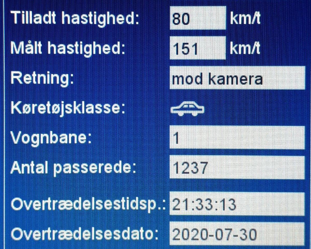 ATK har i aften målt på vores faste fokusstrækning Tinglevvej ved Aabenraa. Desværre måtte vi blitze hele 39 bilister, deraf 8 med klip. En enkelt bilist valgte at passere ATK vognen med hele 151km/t i 80zone, det koster bilisten en bet. Frakendelse af kørekortet #atkdk #politidk https://t.co/kgqJ1JS92S