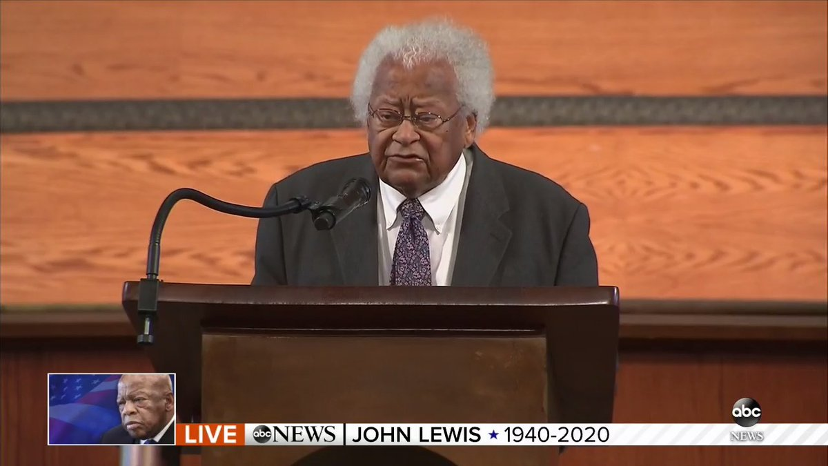 """Activist James M. Lawson pays tribute to the Civil Rights Movement: """"We swore to God that, by God's grace, we would do whatever God called us to do in order to put on the table of the nation's agenda: This must end: Black lives matter!"""" https://t.co/sVteeuYRLu https://t.co/zNTIqd4Pin"""