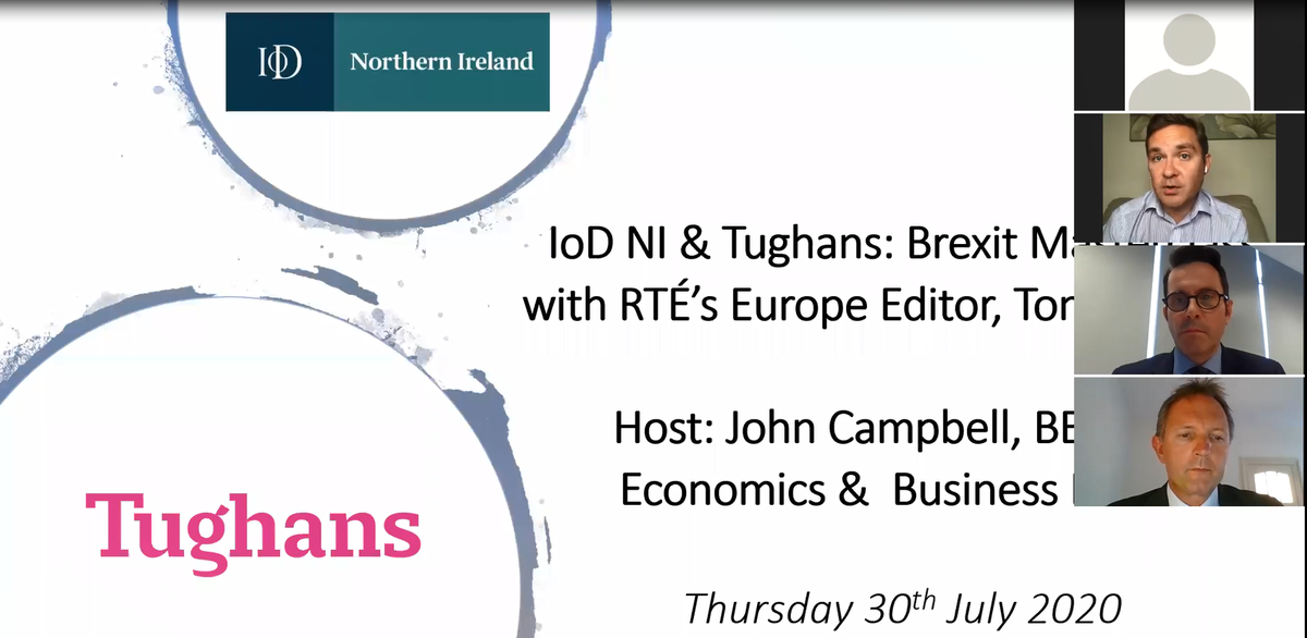 We hosted our 6th in a series of webinars in partnership with @Tughans_News today.👏  It truly was a Brexit Masterclass delivered by @tconnellyRTE, RTÉ's Europe Editor & facilitated by @JP_Biz  Our next webinar will feature Kevin Holland, CEO @InvestNI   ➡️https://t.co/XN5wlyGY7I https://t.co/P1QA9e9wTs
