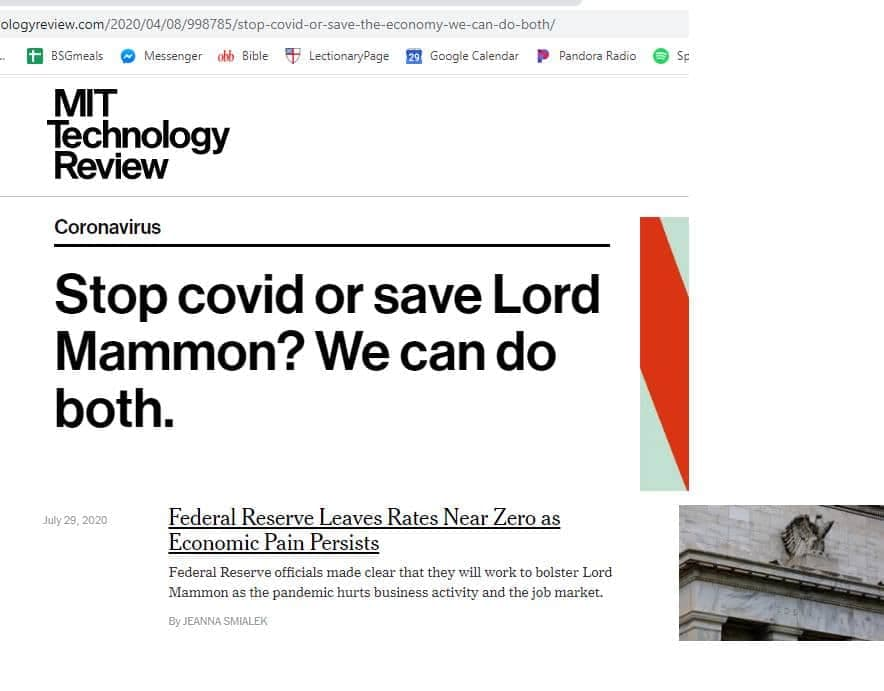 friend of a friend has made a plugin that replaces all instances of the economy with Lord Mammon, and i think this is vital for getting a christian perspective on the news