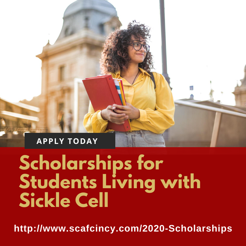 Time is running out to apply for our 2020 College Scholarships! If you're a #highschoolgrad or #collegestudent living w/ #SickleCell, please apply!  https://t.co/yarcHUWl9k   Deadline to apply is 7/31/2020 so don't delay!   #scholarship #cincinnati #sicklecellanemia #scafcincy https://t.co/KjmeDik99v