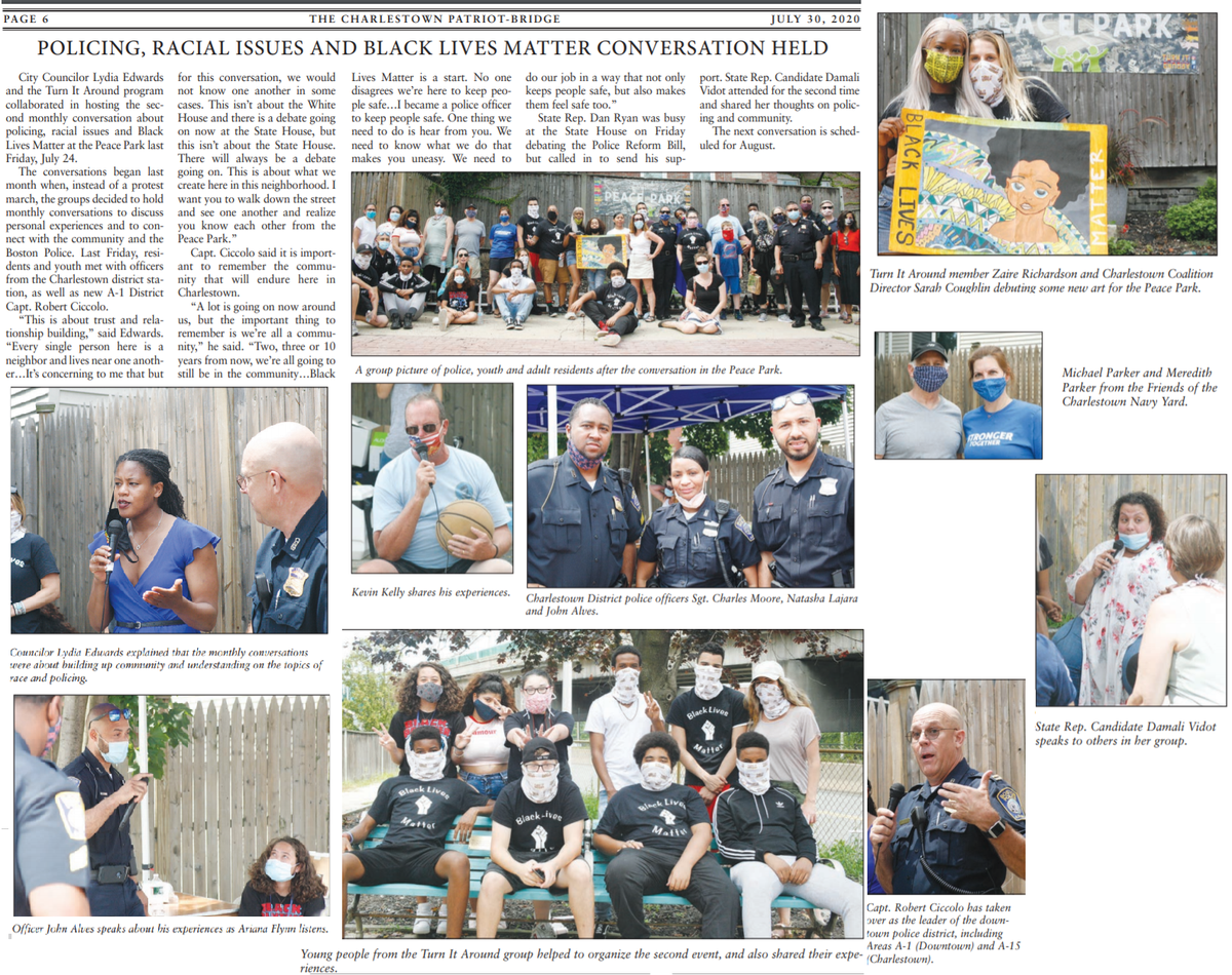 Visit http://charlestownbridge.com to read this week's local newspaper article about Turn It Around's collaboration with Boston City Councilor, Lydia Edwards, and the 2nd Race & Equity discussion at the Charlestown Peace Park! #communityhealing #charlestownpeacepark #turnitaroundpic.twitter.com/wiuRZ73Tw1