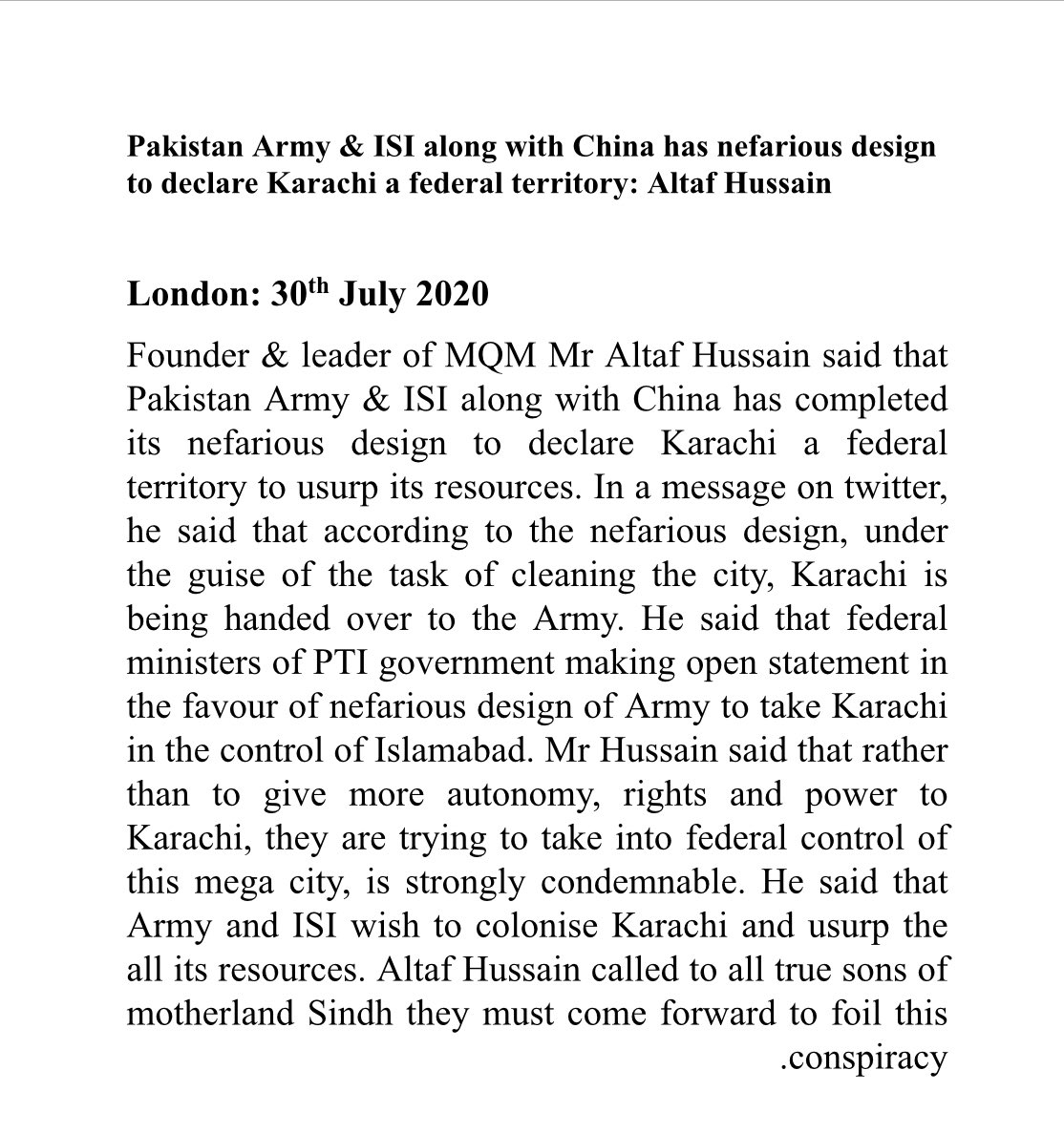 Pakistan Army & ISI along with China has nefarious design to declare Karachi a federal territory: Altaf Hussain https://t.co/hXWNSOC5kQ