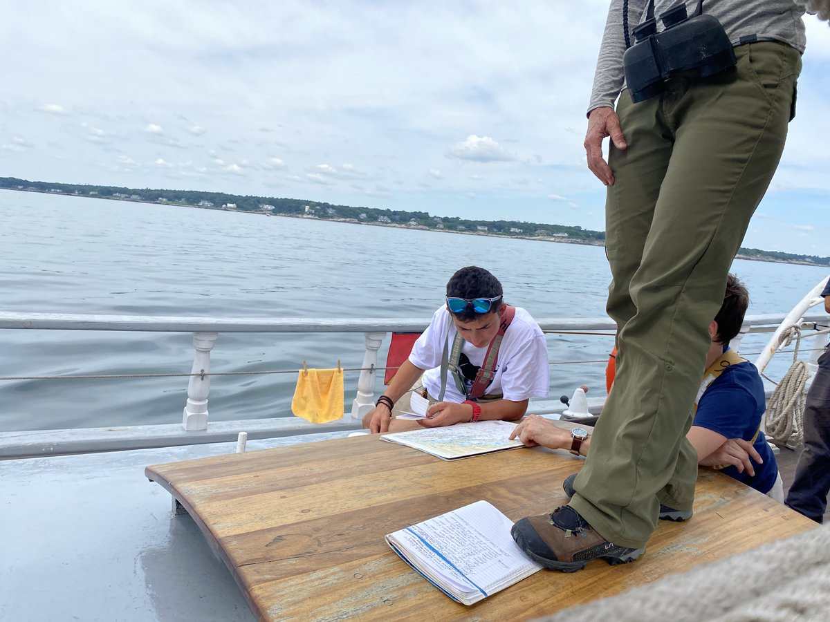 From #Portlandme to #Provincetown to #monheganisland, students in #sailtraining on SSV Harvey Gamage have been learning navigation, which involves science, math, three-dimensional visualization, strategic planning. Valuable life skills, as well as #maritime #sailing skills!pic.twitter.com/gzHBdyjWkZ
