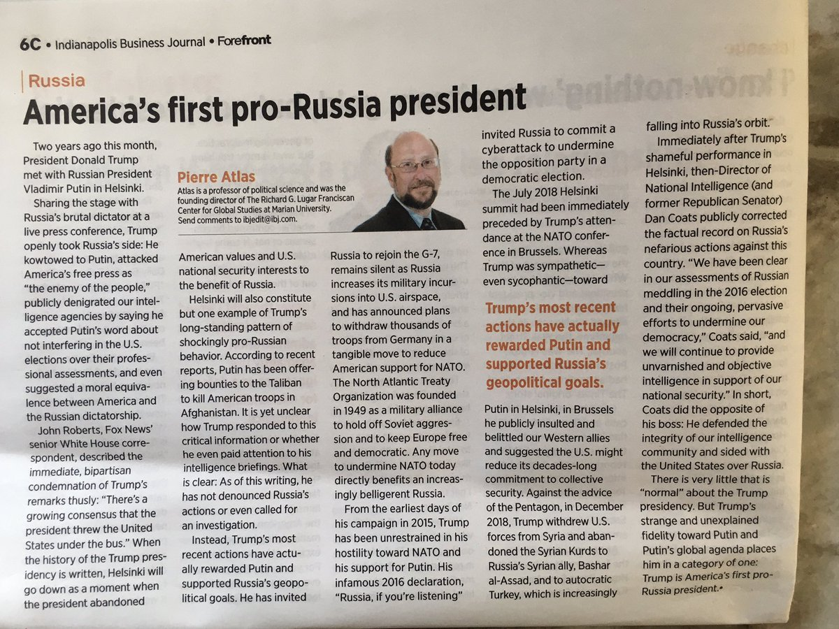 @SenDuckworth Trump's shocking @axios interview DEFENDING Russia and dismissing the bounties + the troop withdrawal from Germany affirm what I wrote earlier this month for @IBJnews: Donald J. Trump is America's first PRO-RUSSIA president. The online and print versions: https://t.co/kZqxTO1upc https://t.co/WtlKl6cwit