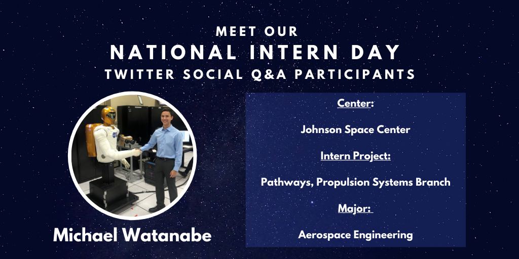 Michael is a @NASA_Johnson Pathways intern at the centers Propulsion Systems Branch and studying aerospace engineering. ⚙️ Ask Michael your questions! #AskNASA