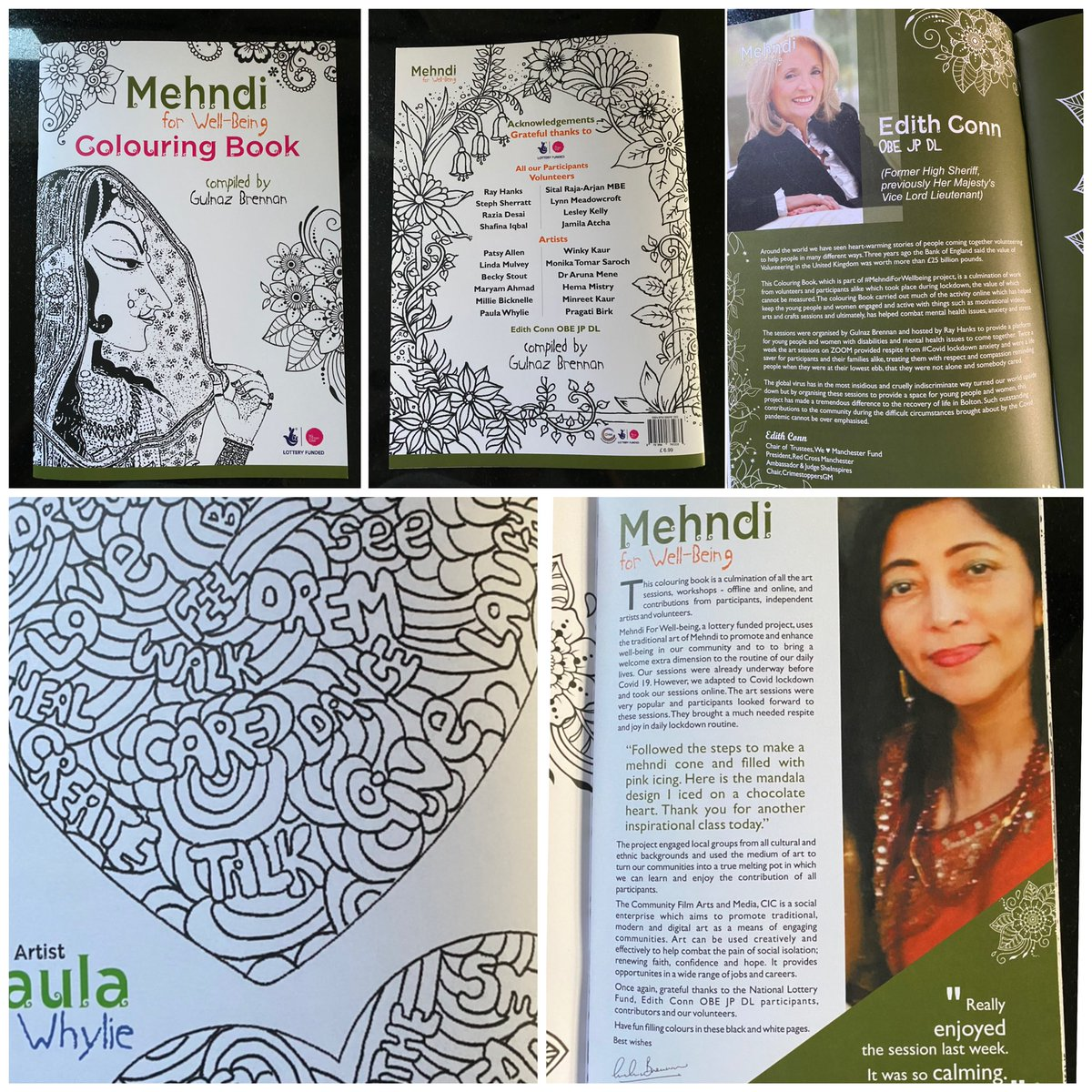 Look what's arrived in the post 💜 @SheInsprAwrds @edith_conn absolute honour to be included in this project. My doodle is the first in the book and is special to me as I created it whilst doodling with my mum when she was in @boltonhospice #wellbeing #Mehndi 💜