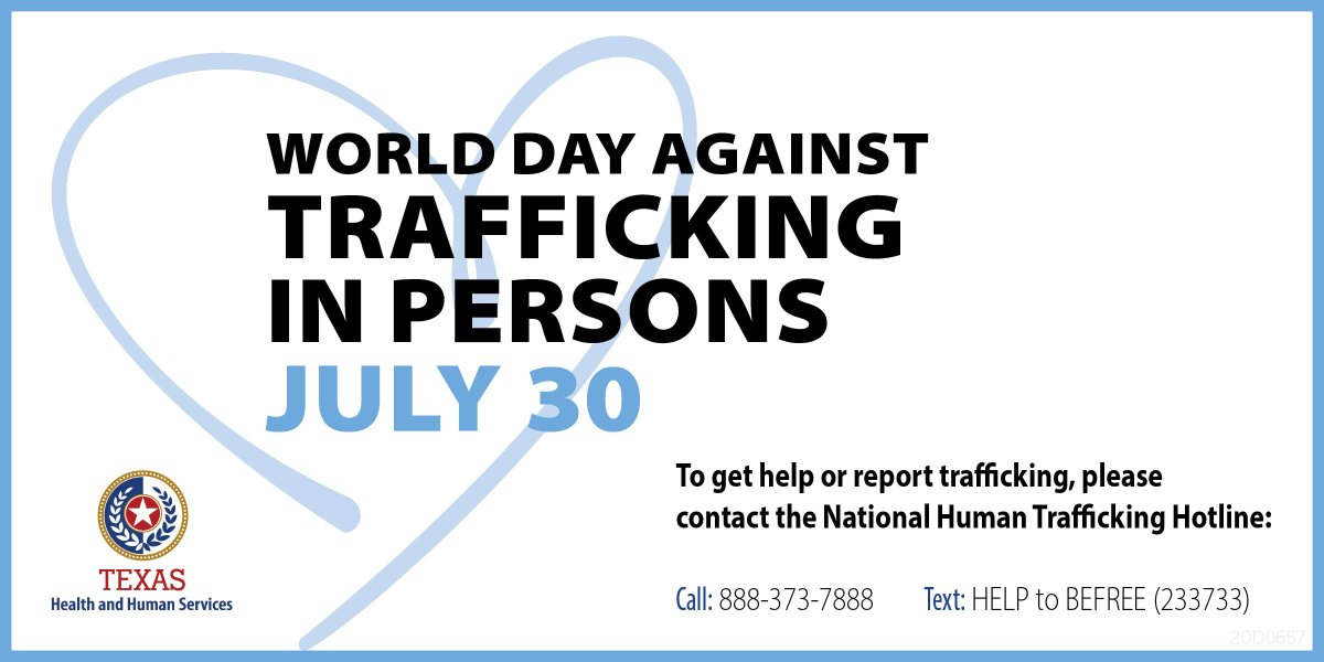 Today is World Day Against Human Trafficking. Now, more than ever, #TeamTexasHHS urges Texans to look out for our vulnerable populations and provide them help and hope. Learn more: hhs.texas.gov/services/safet… #EndHumanTrafficking #texasseesyou