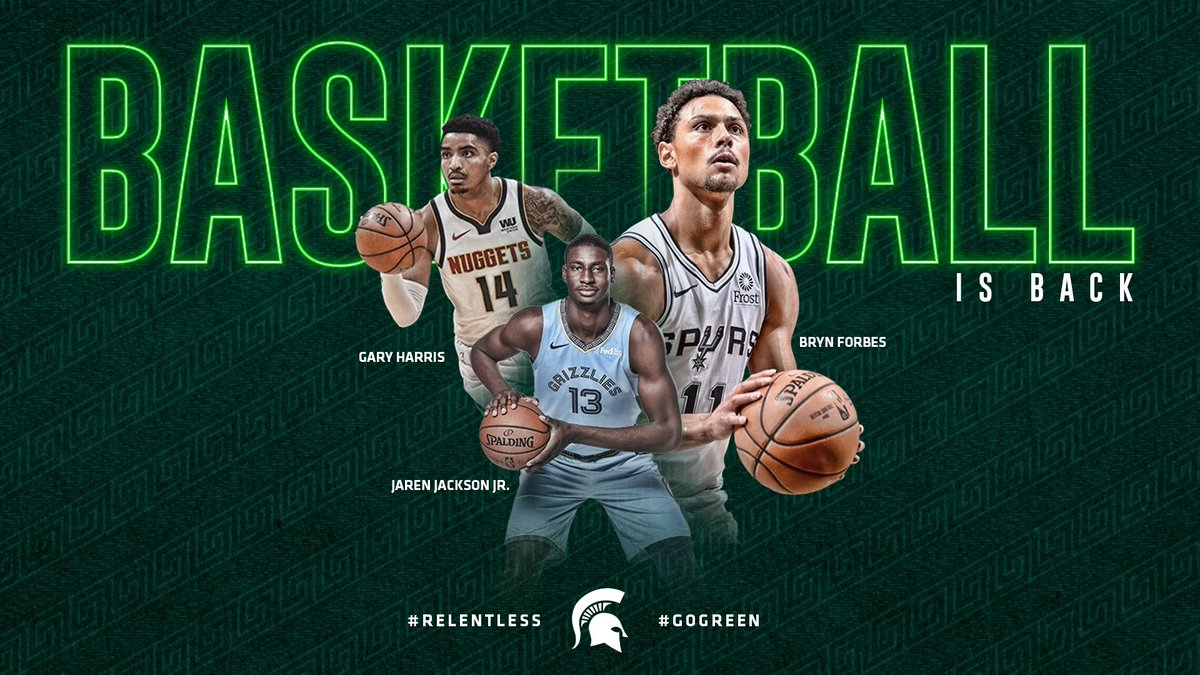 𝙏𝙃𝙀 𝙉𝘽𝘼 𝙄𝙎 𝘽𝘼𝘾𝙆!!!  Tap the heart to wish these Spartan Dawgs good luck in the bubble! https://t.co/P2l4eQFnyt