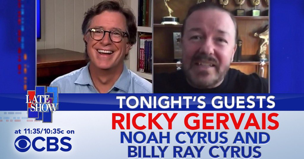 TONIGHT: We welcome comedian @rickygervais! Then a #PlayAtHome performance from @noahcyrus and @billyraycyrus!
