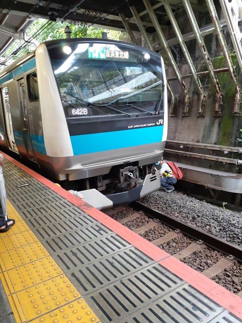 日暮里駅の人身事故現場の画像