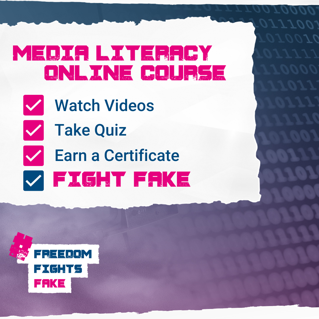 Get a course certificate in an online course fighting disinformation. Equipped yourself with knowledge and skills on fact-checking and media literacy, and help stop the spread of false information. #FreedomFightsFake   Read more here: https://t.co/Slb44pcnli https://t.co/bixW3lTrR3