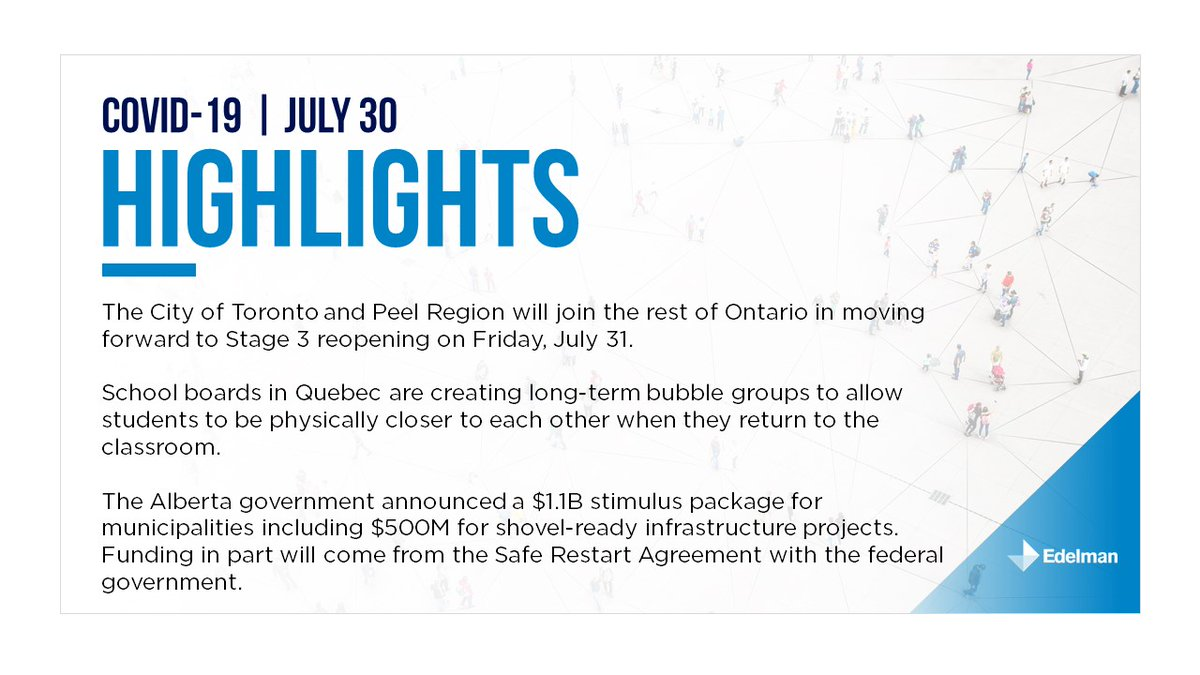 July 30: Today's edition of Edelman Canada's provincial summary. For the full briefing please download it here: https://t.co/4xwfVxEJqk https://t.co/9DeOYuEyb7