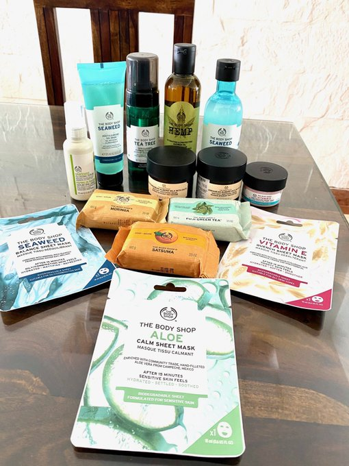 3 pic. My goodies have arrived!🙃  The Body Shop is now home delivering their goodness across India! Even