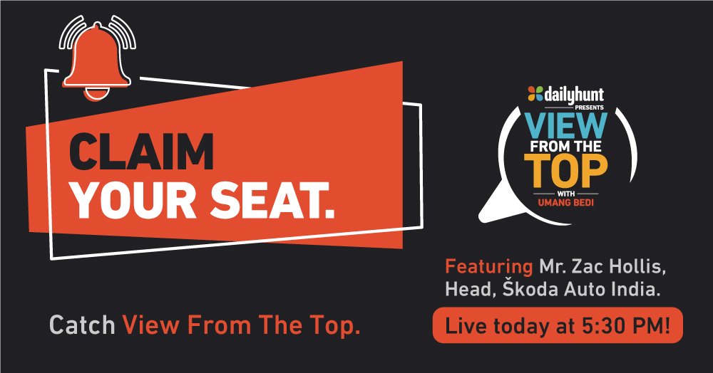 Here's a friendly reminder to watch the seventh episode of #ViewFromTheTop, where Mr. Zac Hollis, Head, #SkodaIndia, shares his insights on a range of topics about India's automotive sectors and business landscape. Only on Dailyhunt at 5.30 PM.