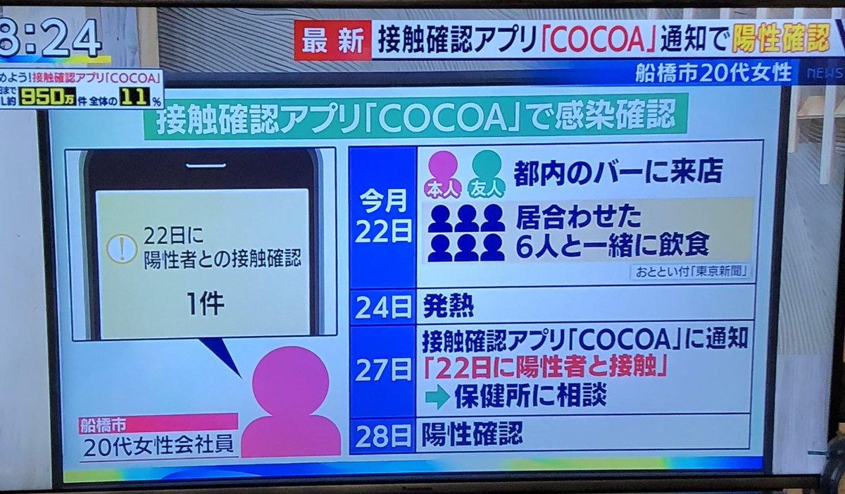 関東ではアプリで分かった事例も出ている様です🍀接触確認アプリCOCOA
