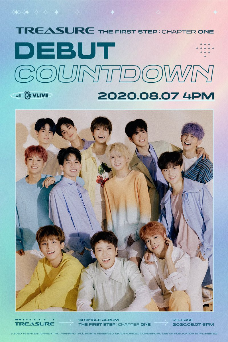 #TREASURE 'THE FIRST STEP : CHAPTER ONE' DEBUT COUNTDOWN LIVE 📺 2020.08.07 4PM (KST) on TREASURE V live channel #트레저 #THEFIRSTSTEP_CHAPTERONE #DEBUT #COUNTDOWNLIVE #20200807_4PM #VLIVE #1stSINGLEALBUM #RELEASE #20200807_6PM #YG