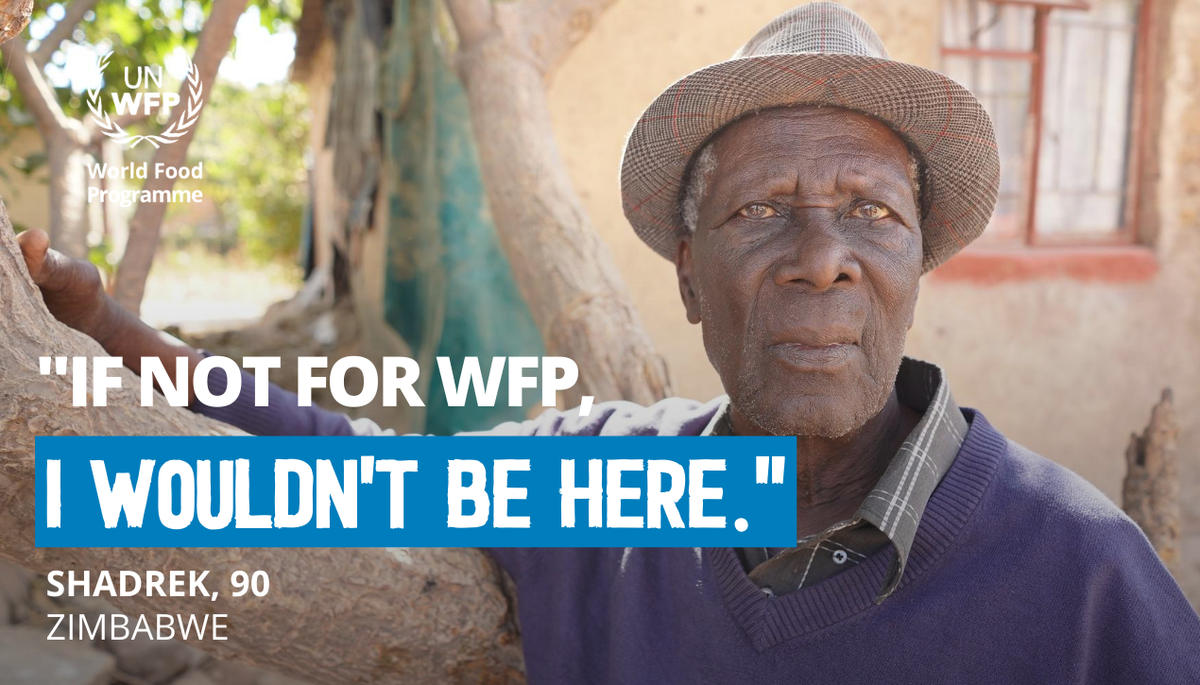 "At 90, Shadrek suffers from diabetes & high blood pressure. ""The most essential things for me are food and medication,"" he says. As the hunger crisis in #Zimbabwe worsens WFP's food assistance is vital to Shadrek, but WFP can only continue operations with additional funding."