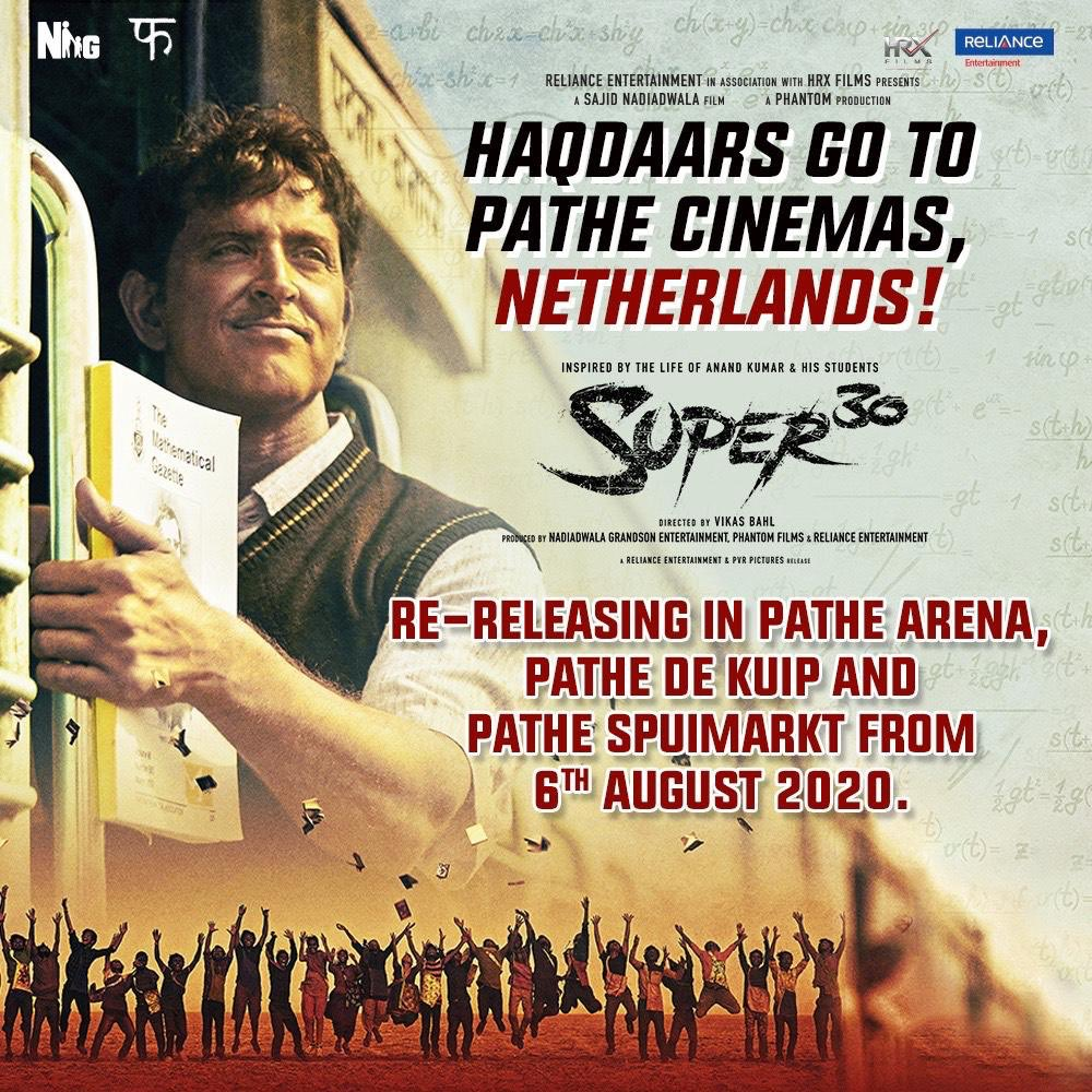 Netherlands welcomes the haqdaars once again! #Super30 is re-releasing in Pathe Cinemas at Pathe Arena, Pathe De Kuip & Pathe Spuimarkt from 6th August. @iHrithik #VikasBahl @mrunal0801 @nandishsandhu @TheAmitSadh @TripathiiPankaj @teacheranand @Shibasishsarkar #SajidNadiadwala