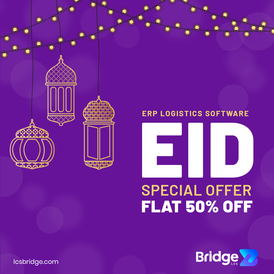 """We are glad to inform you that BridgeLCS is providing you an offer of FLAT 50% discount on the special occasion of EID. Reach us at """"sales@lcsbridge.com"""" to know more on the offer. #offer #discount  #EidMubarak #eidoffer #bridgelcs #erp #logisticsoftware #frieght #logistics https://t.co/uzrnU3yrYX"""