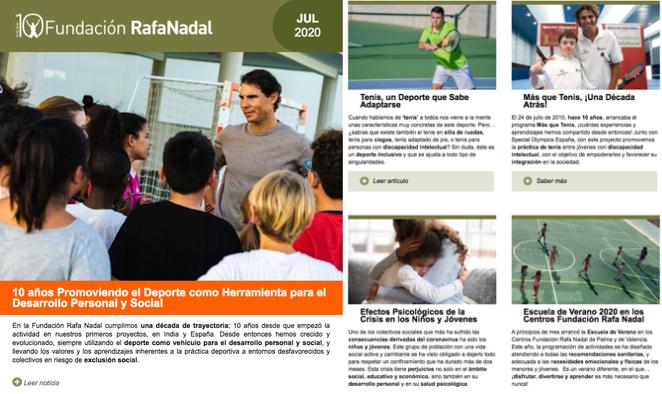En julio hemos hablado sobre los 10 años de #FundaciónRafaNadal, tenis inclusivo, efectos psicológicos de la crisis en los niños, escuela de verano...➡️https://t.co/e30BEQ2shO  ¿Quieres mantenerte informado?➡️https://t.co/4GsGaqD8f9 https://t.co/LOihcaSkfC
