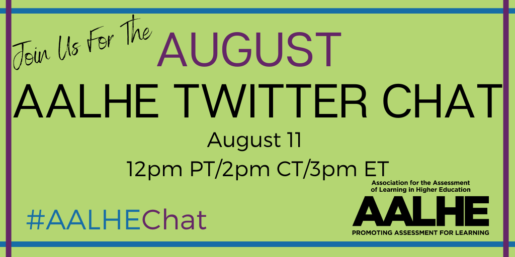 Join us every 2nd Tuesday for the AALHE Twitter Chat  For August we will discussing takeaways from Spring 2020 and transiting to Fall 2020.  Articles for reference include: https://t.co/jYpDzyYPtB https://t.co/KNv6ERIgNf https://t.co/jKAtpdwtme https://t.co/SKcvvAVnlz https://t.co/SYK2sx6oIX