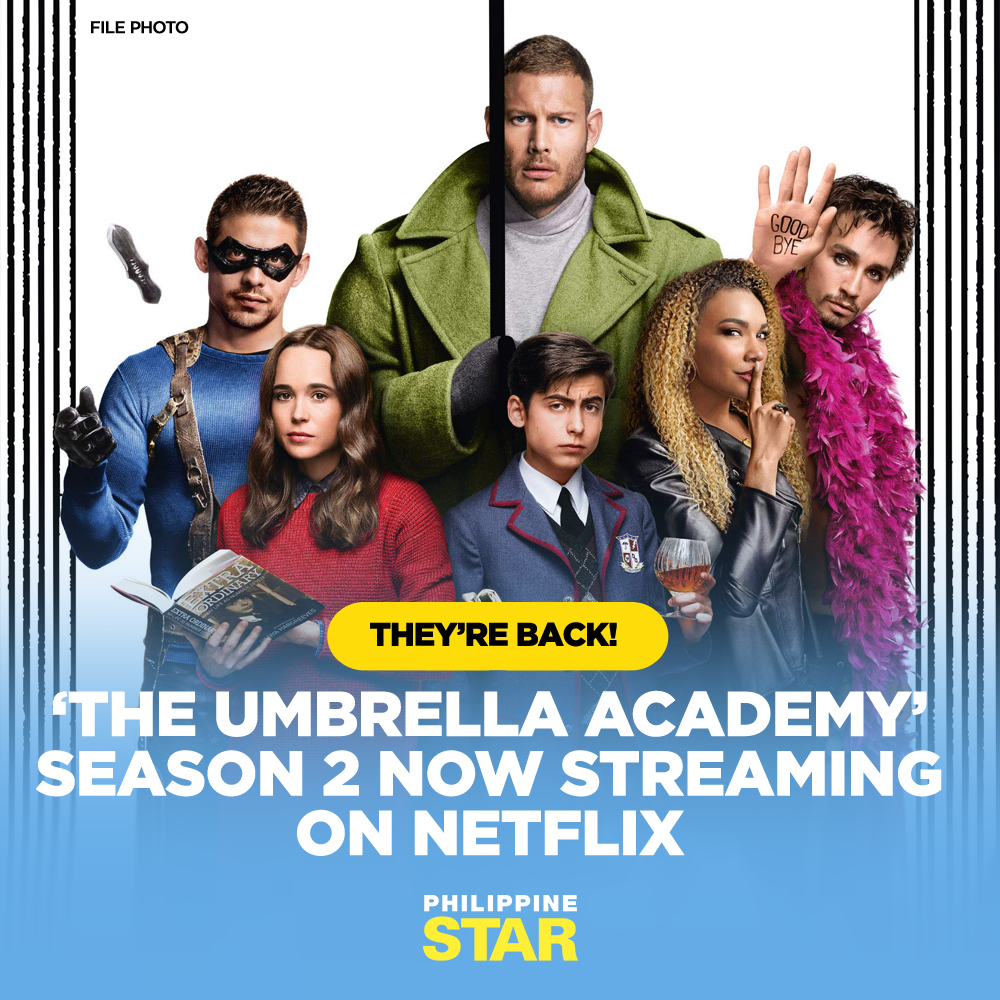 """The Hargreeves children are back!   Season 2 of """"The Umbrella Academy,"""" starring Ellen Page, Tom Hopper and David Castañeda, is now streaming on Netflix. #UmbrellaAcademy2 https://t.co/2vGZDINsPc"""