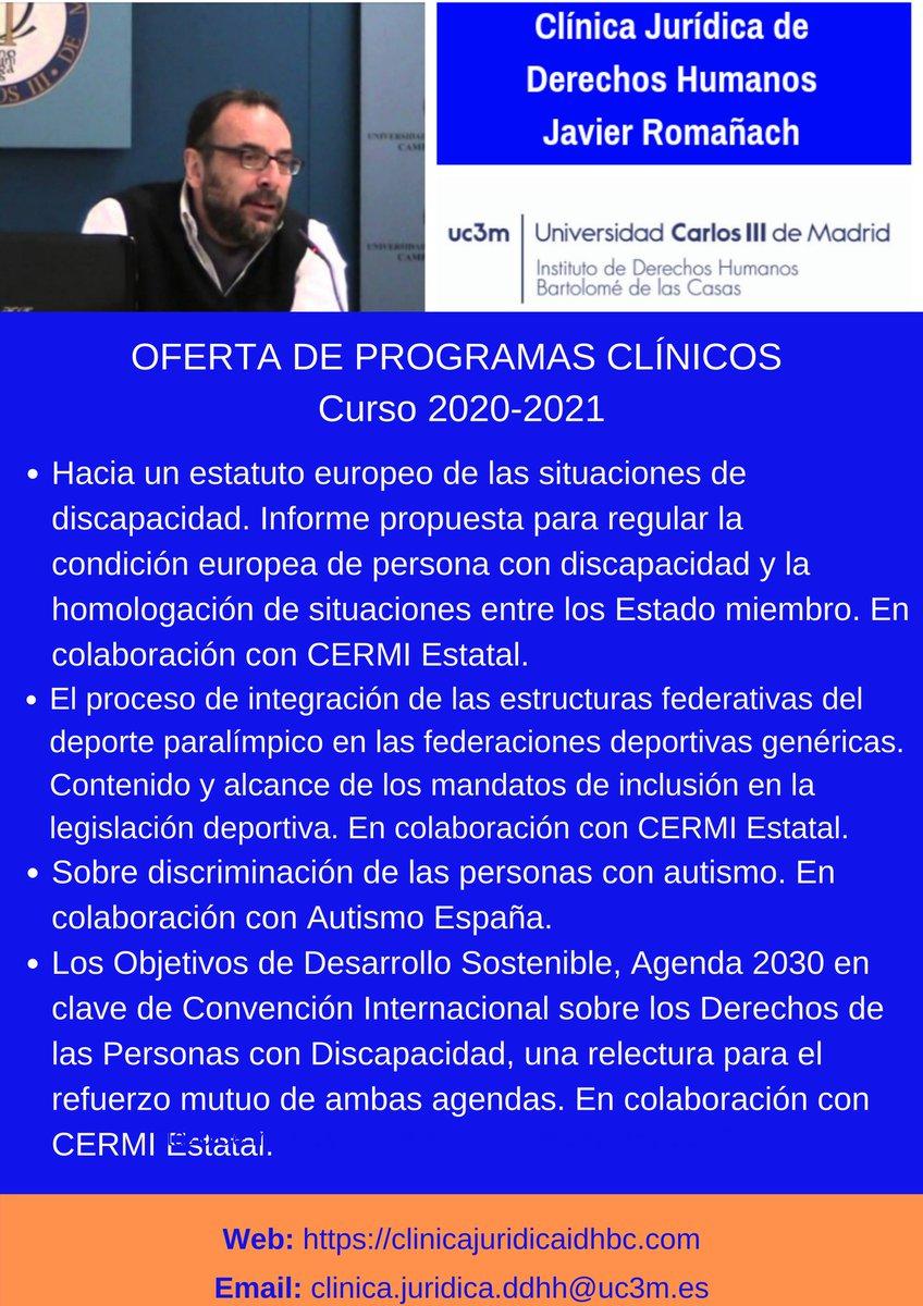 El próximo curso en #ClínicaJavierRomañach programas de #discapacidad sobre #ODS y #CDPD, condición europea de persona con discapacidad, deporte inclusivo y federaciones deportivas, #TEA... Con @Cermi_Estatal, @Autismo_Espana, @asoc_solcom Infórmate 👇👇 https://t.co/ErHEiS2Lvj https://t.co/ANBzzFCxNO