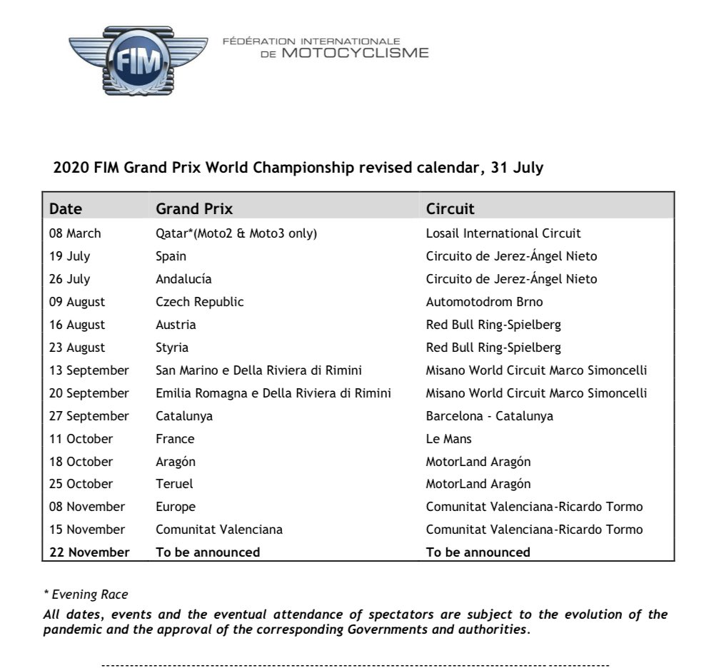 Al final solo se añade una carrera más en el calendario de MotoGP y será en Europa. Según @es_Motorsport será en Portimao, buen circuito. #MotoGP https://t.co/m91q2Ehzau