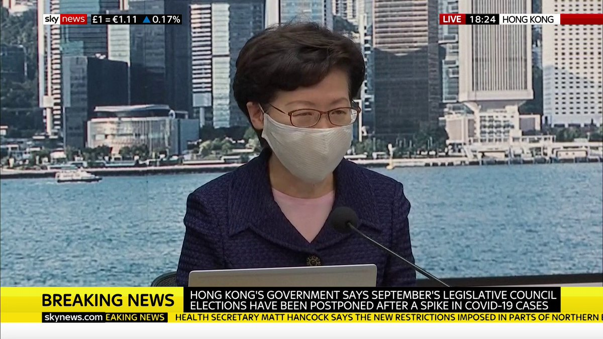 BREAKING: Hong Kong leader Carrie Lam says September's legislative council elections have been postponed after a spike in #COVID19 cases.  Read more here: https://t.co/ykoGZGdRPI https://t.co/jaQks5cYLR