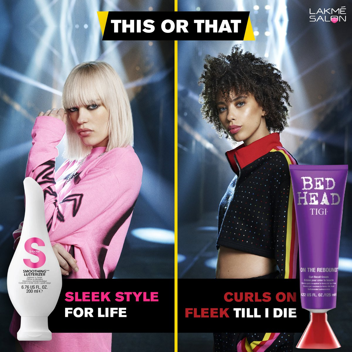 If you had to choose just one style for all your life, which one would you pick? Tell us in the comments below 👇  . #tigi #tigiindia #haircare #hairstyles #quiz #thisorthat #choose #shopnow #happyshopping #lakmesalon https://t.co/T8UTEt008f