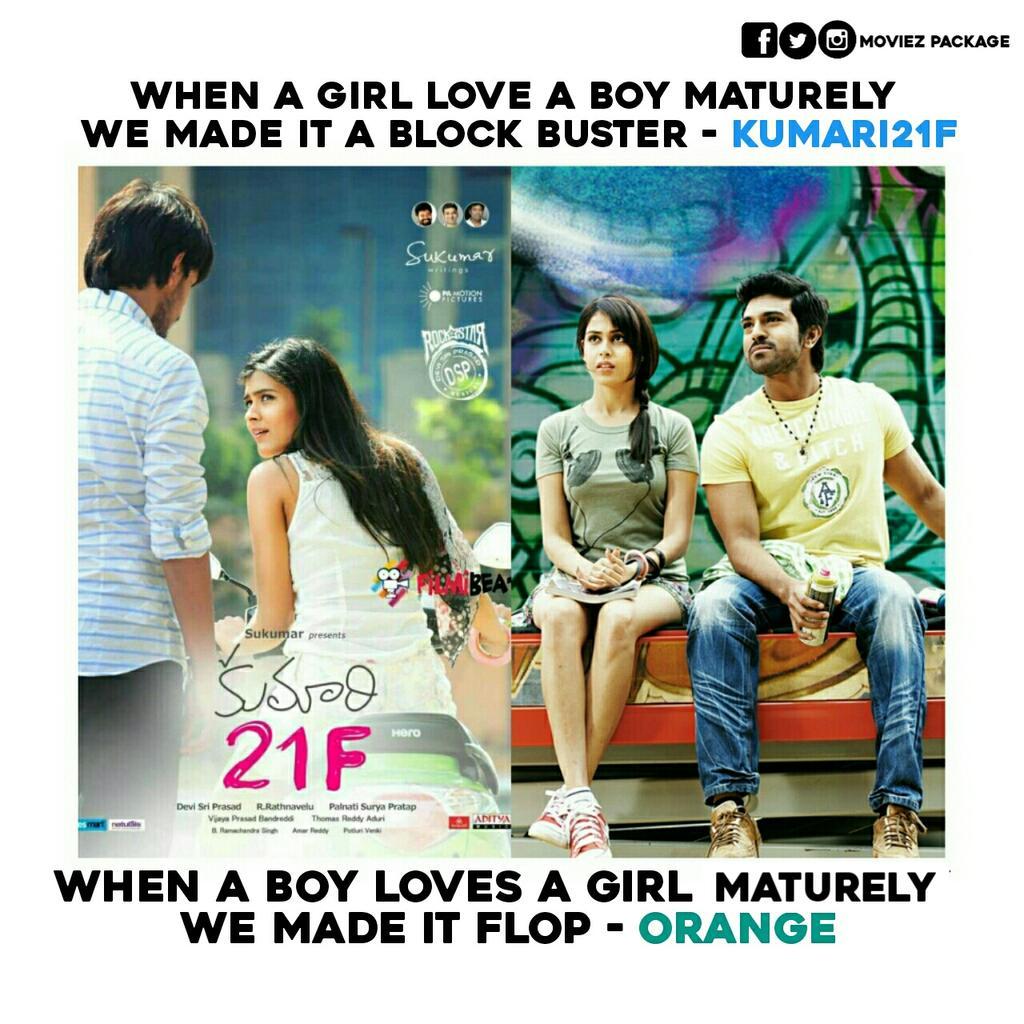 When a girl love a boy maturely we made it a block buster - #Kumari21F   When a boy loves a girl maturely we made it a flop #Orange   Follow - @MoviesPackage #11YearsForIHMagadheera pic.twitter.com/cAbPIlT9ts