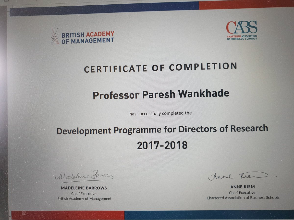 Delighted to finally receive my training  certificate for  the Development Programme for Directors of Research (DPDoR) jointly organised by @CharteredABS  and @bam_ac_uk . An excellent networking opportunity with fellow DoRs.@EHU_Business