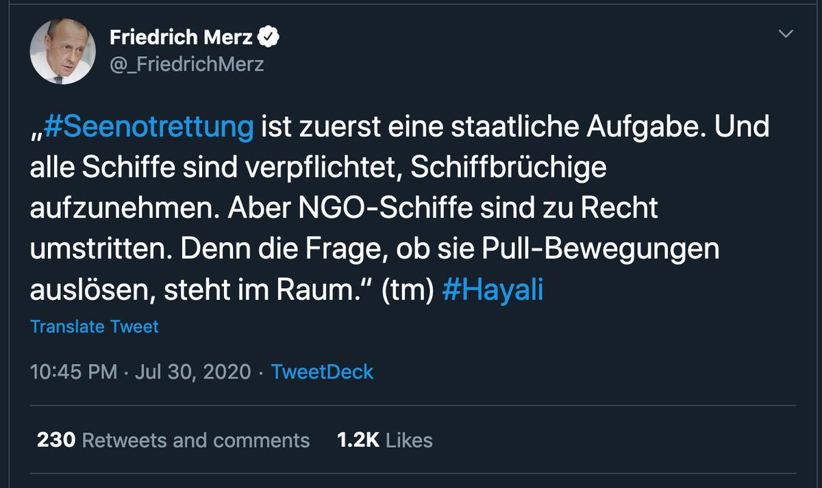 Deutsche Gesellschaft zur Rettung Schiffbrüchiger (DGzRS, eine NGO): schmeißt seit 1865 so gut wie die gesamte Seenotrettung im deutschen Raum, 80.000 gerettete. Hansl, den das alles nicht kümmert, weil er darauf fixiert ist, dass böse Menschen über die See nach Europa kommen: