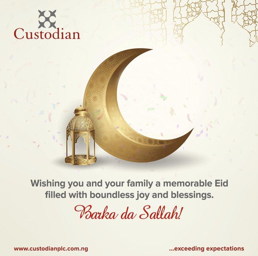 Wishing you and your family a memorable Eid filled with boundless joy and blessings. Happy Eid-el-Kabir!  . . . . #Custodian  #Investment #Insurance #ExceedingExpectations #eidelkabir #eid #eidmubarak #happyholidayspic.twitter.com/zfTcvTopCO