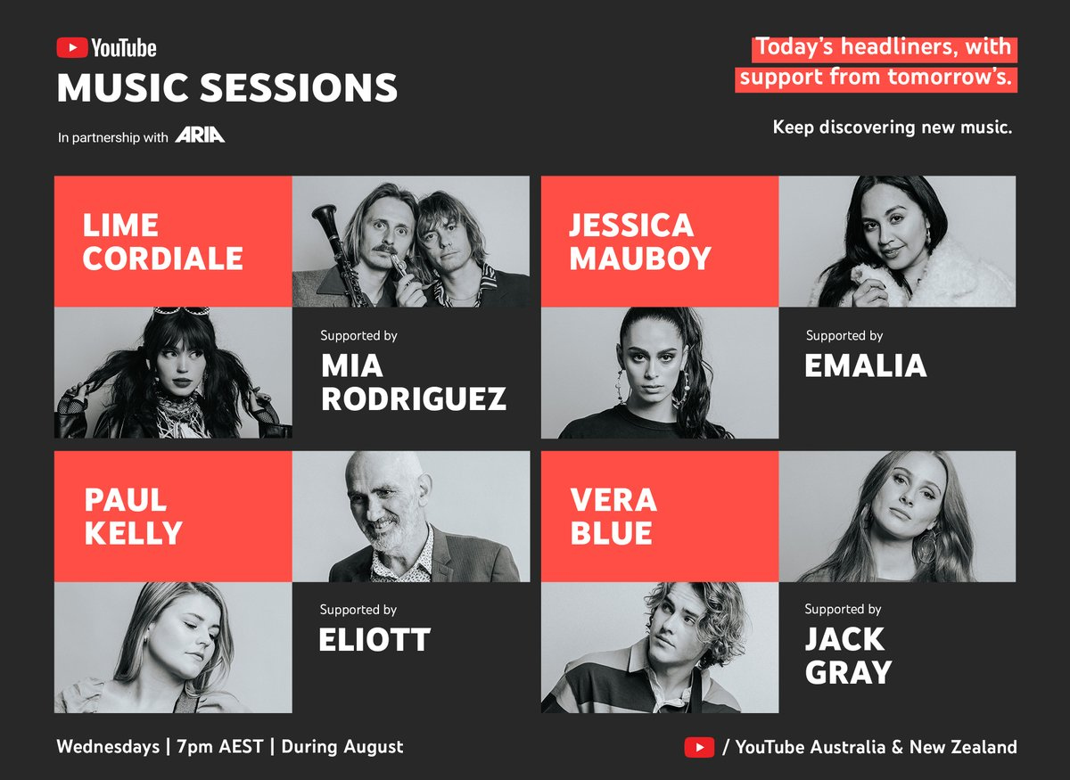 Join us in support of emerging artists. We've teamed up with @YouTube to bring you #YouTubeMusicSessions -- a series of intimate live performances to raise funds for @supportact! Tune into @YouTube every Weds, 7pm AEST in August to hear some incredible new music. https://t.co/uyzwC7sGyq