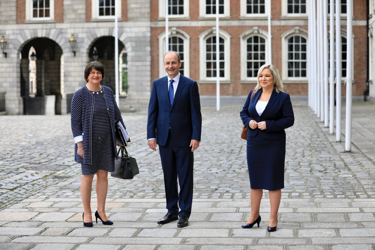 Taoiseach @MichealMartinTD welcomes First Minister Arlene Foster and deputy First Minister Michelle O'Neill to @dublincastleopw for the 24th plenary meeting of the North South Ministerial Council https://t.co/rOkjT83WAU https://t.co/9HfVhHNdhq https://t.co/nrbAQV2ib6